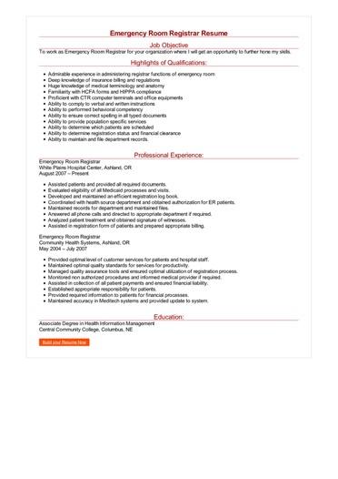 Emergency Room Registrar Resume Great Sample Resume
