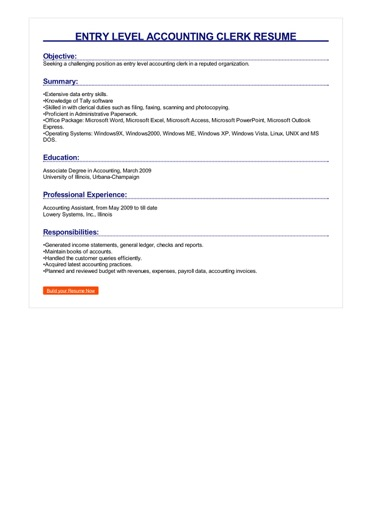 entry level resume examples objective