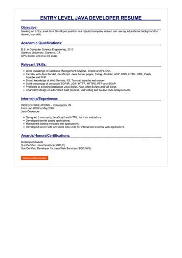 Entry Level Java Developer Resume Great Sample Resume