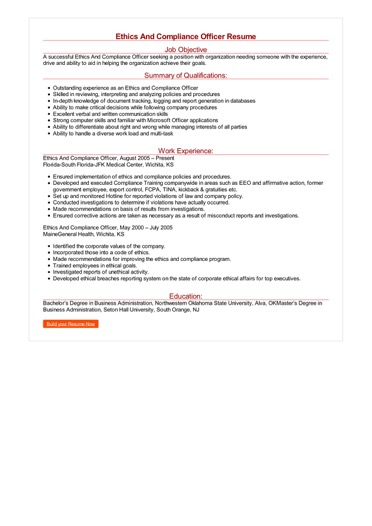 Ethics And Compliance Officer Resume Great Sample Resume