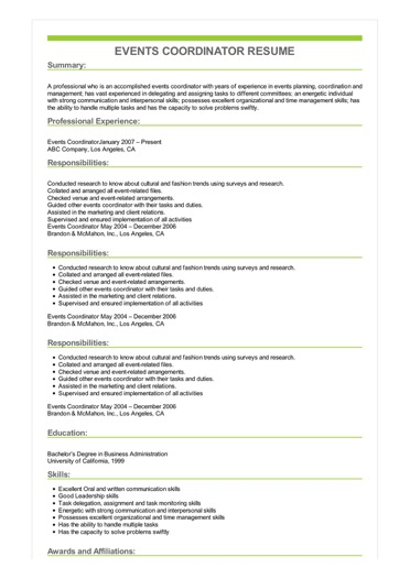 Events Coordinator Resume Great Sample Resume