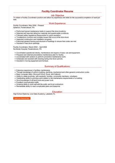 Facility Coordinator Resume Great Sample Resume