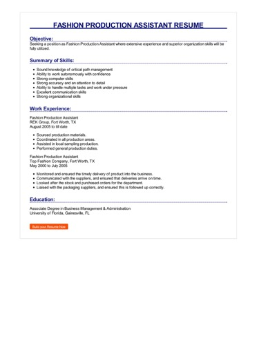 Fashion Production Assistant Resume Great Sample Resume