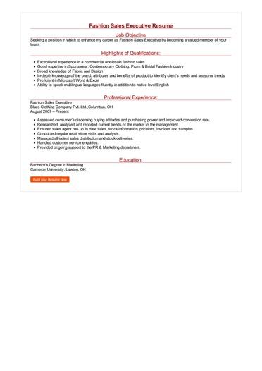 Fashion Sales Executive Resume Great Sample Resume