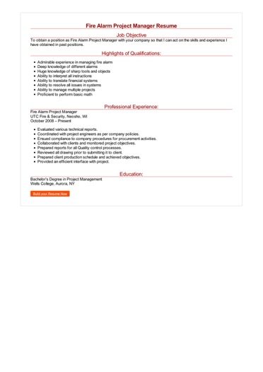 Fire Alarm Project Manager Resume Great Sample Resume