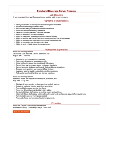 Food And Beverage Server Resume Great Sample Resume