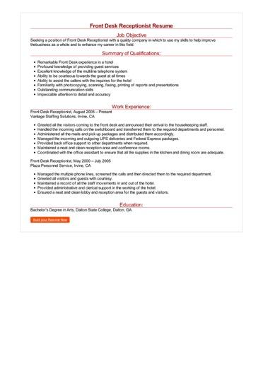 Front Desk Receptionist Resume Great Sample Resume