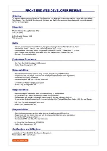 Front End Web Developer Resume Great Sample Resume