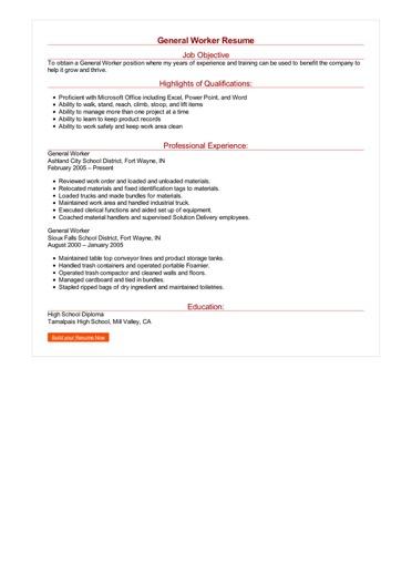 General Worker Resume Great Sample Resume
