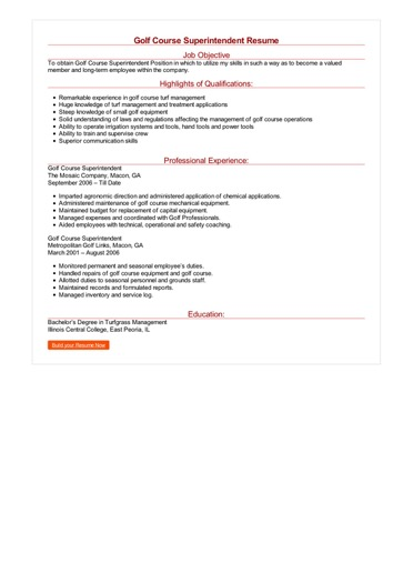 Golf Course Superintendent Resume Great Sample Resume