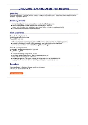 Graduate Teaching Assistant Resume Great Sample Resume