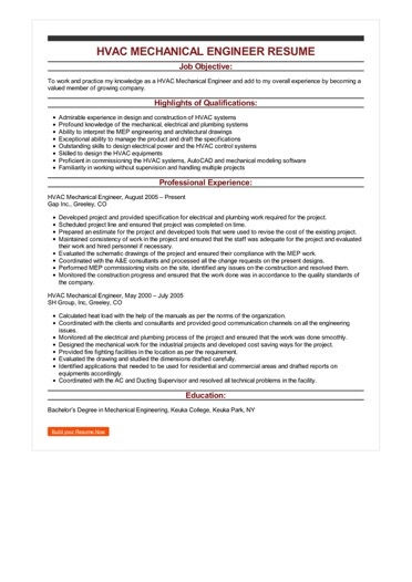 HVAC Mechanical Engineer Resume Great Sample Resume