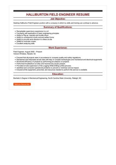 Halliburton Field Engineer Resume Great Sample Resume