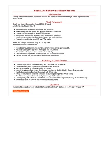 Health And Safety Coordinator Resume Great Sample Resume