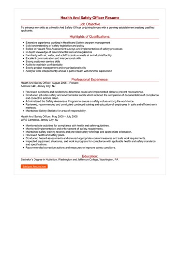 Health And Safety Officer Resume Great Sample Resume