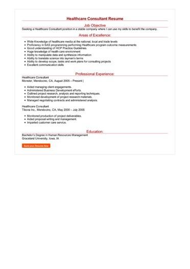 Healthcare Consultant Resume Great Sample Resume
