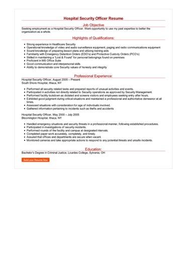 resume sample for hospital job