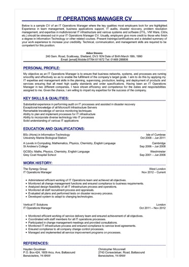IT Operations Manager CV Great Sample Resume