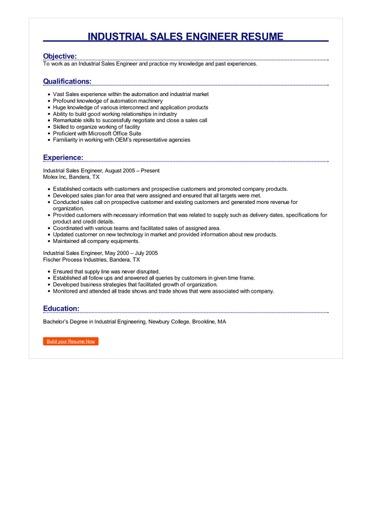 Industrial Sales Engineer Resume Great Sample Resume
