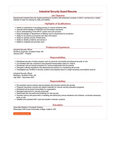 Industrial Security Guard Resume Great Sample Resume