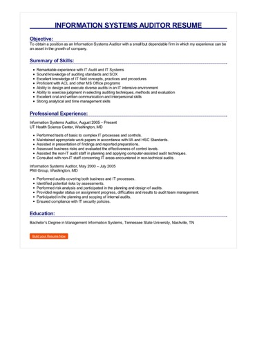 Information Systems Auditor Resume Great Sample Resume