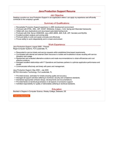 Java Production Support Resume Great Sample Resume
