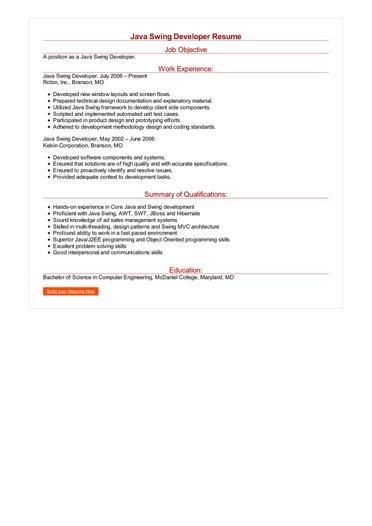 Java Swing Developer Resume Great Sample Resume