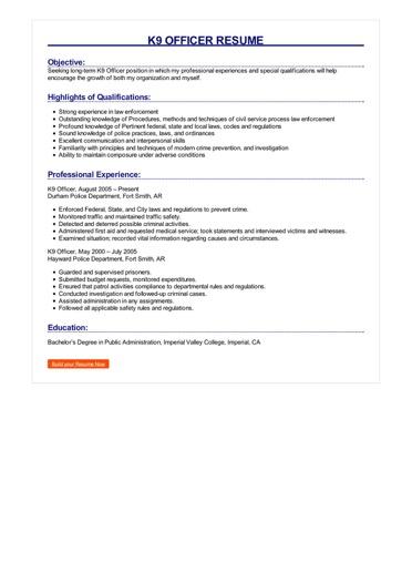 K9 Officer Resume Great Sample Resume