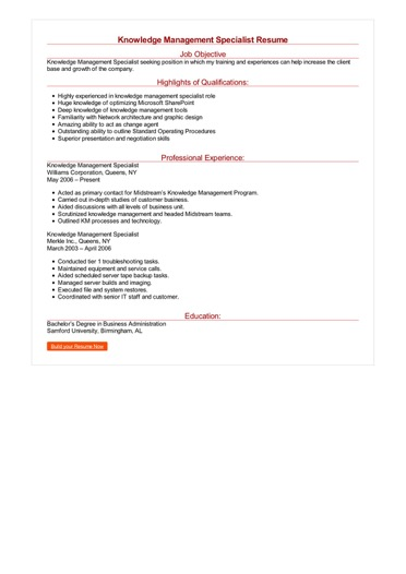 Knowledge Management Specialist Resume Great Sample Resume