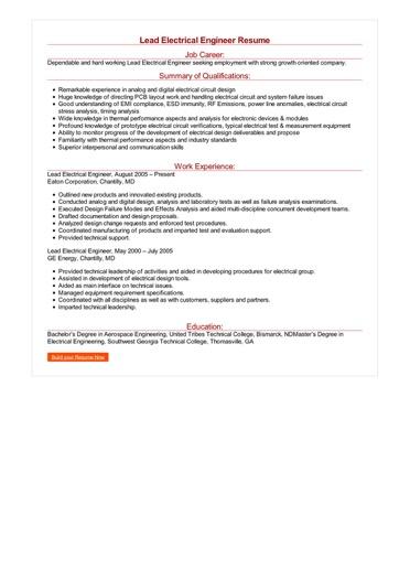 Lead Electrical Engineer Resume Great Sample Resume