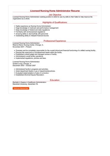 Licensed Nursing Home Administrator Resume Great Sample Resume