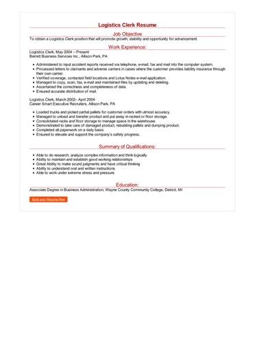 Logistics Clerk Resume Great Sample Resume