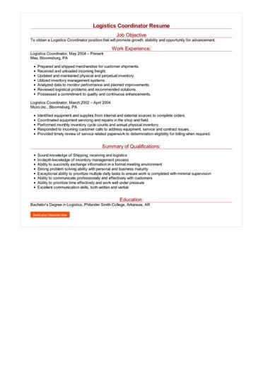 Logistics Coordinator Resume Great Sample Resume