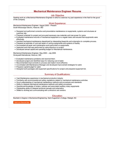 Mechanical Maintenance Engineer Resume Great Sample Resume