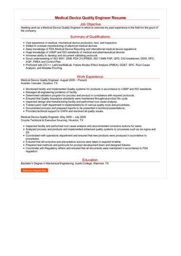 Medical Device Quality Engineer Resume Great Sample Resume