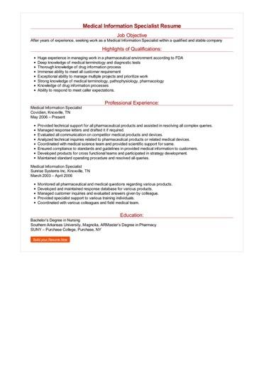 Medical Information Specialist Resume Great Sample Resume