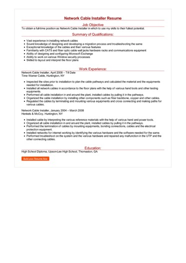 Network Cable Installer Resume Great Sample Resume