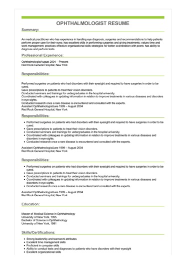 Ophthalmologist Resume Great Sample Resume