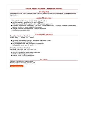 Oracle Apps Functional Consultant Resume Great Sample Resume