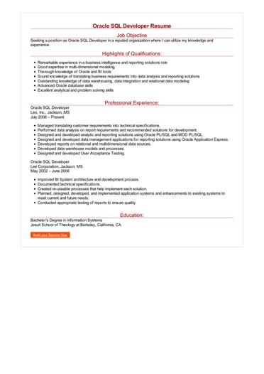 Oracle SQL Developer Resume Great Sample Resume