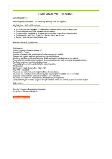 PMO Analyst Resume Great Sample Resume
