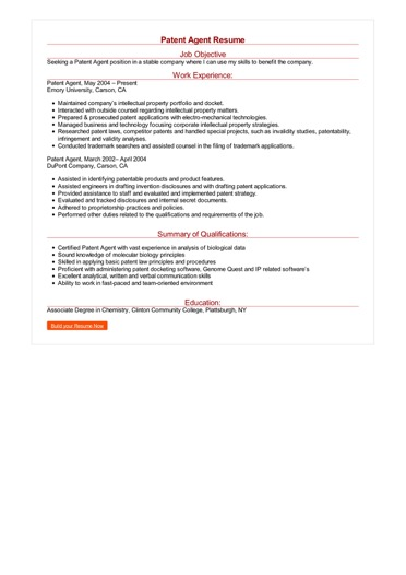Patent Agent Resume Great Sample Resume