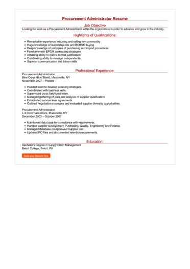 Procurement Administrator Resume Great Sample Resume
