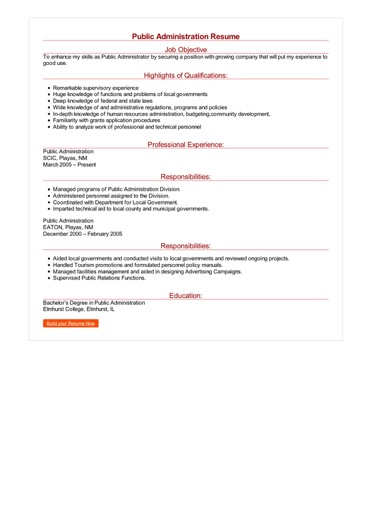 Public Administration Resume Great Sample Resume