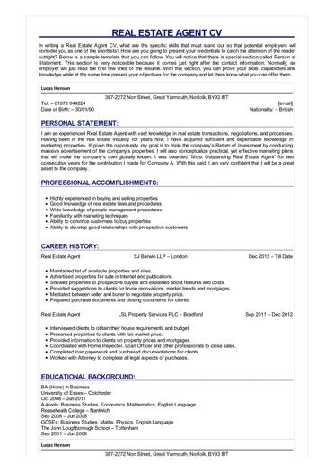 Real Estate Agent CV Great Sample Resume