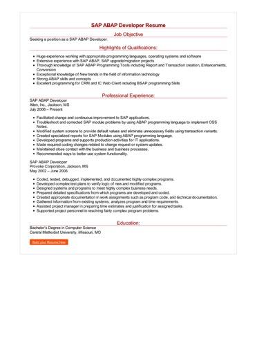SAP ABAP Developer Resume Great Sample Resume