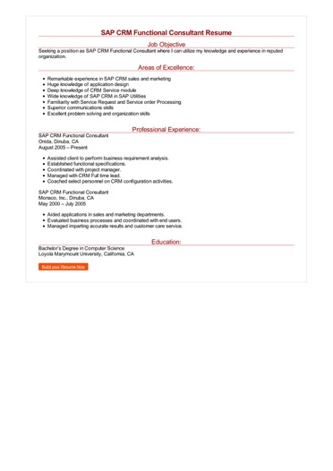 SAP CRM Functional Consultant Resume Great Sample Resume