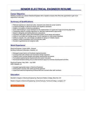 Senior Electrical Engineer Resume Great Sample Resume