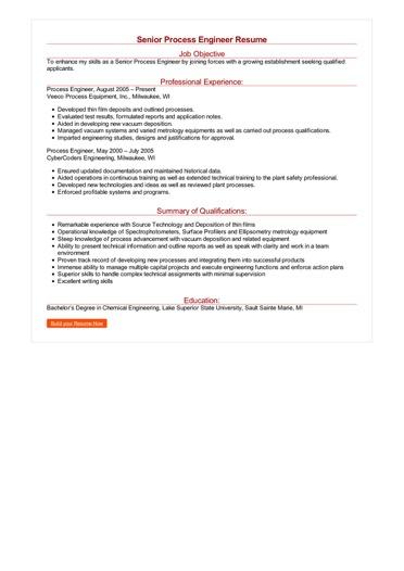 Senior Process Engineer Resume Great Sample Resume