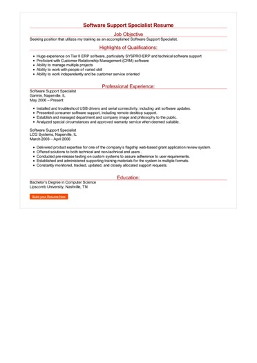 Software Support Specialist Resume Great Sample Resume